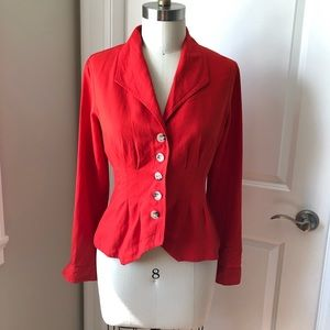Maeve Anthropologie Collar Button Pleated Red Top
